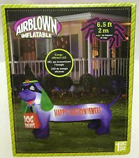 6.5Ft Gemmy Halloween LED Purple Short Dog Treats Airblown Inflatable Yard Prop