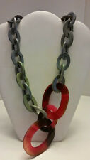 Gorgeous Buffalo Horn grey maroon lacquered long link chunky statement necklace