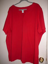 Women's Knit Top Plus Size 30/32 Red Avenue Short Sleeve V Neck