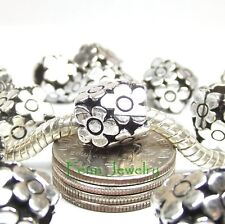 Silver Plated Daisy Flower Charm Add a Bead fit European Charm Bracelet