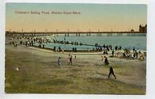 (w10q49-100) Childrens Sailing Pond, WESTON-SUPER-MARE 1929 Used VG