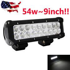 "10"" INCH 54W CREE FLOOD LED Work Light Bar Offroad Jeep Truck 4X4 Pickup Lamp 9"""