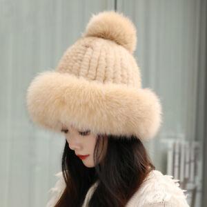 Womens Real Mink Fur Hat Winter Warm Knitted Cap Earlap Bowler W Fox Fur Brim