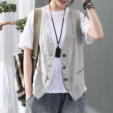 RetroWomen Cotton Linen Check Textured Vest Top Waistcoat Gilet Shirt Sleeveless