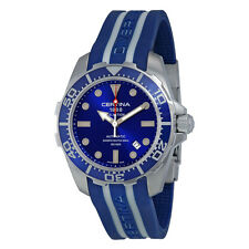 Certina DS Action Automatic Diver Blue Dial Blue and White Rubber Mens Watch