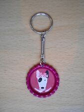 Handmade Bull Terrier Dog Keyring Bottle Cap Puppy Bag Charm Dark Pink English