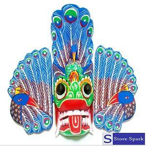 "Sri Lankan Traditional Wooden Wall Hanging Peacock Mask 6"""