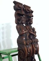Pair medieval musician oak corbel bracket Antique french architectural salvage