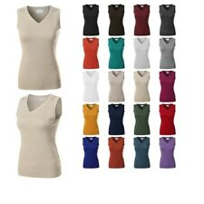 FashionOutfit Women's VISCOSE Solid Office Soft Stretch Sleeveless Knit Vest Top