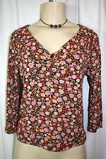Sigrid Olsen Sz S Brown Pink Floral Print Twist Bust Nylon 3/4 Sleeve Blouse Top