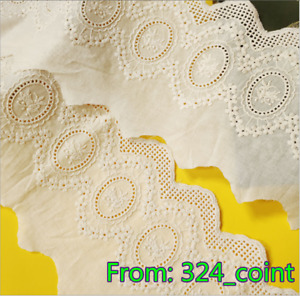 H303 1yard Embroidery Floral Cotton Lace Trim Ribbon Wedding Fabric Sewing DIY