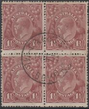 Stamps 1&1/2d brown KGV single watermark block of 4 cto, variety plate 10(e)