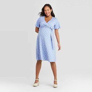 Polka Dot Short Sleeve Knit Wrap Maternity Blue Dress Ingrid & Isabel Small NWT