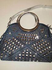 Blue Jean Studded Rhinestone Bling Bling Tote Shoulder Bag Purse