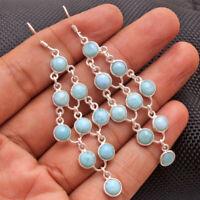 Natural Larimar Gemstone Solid 925 Sterling Silver Jewelry Artistic Earrings
