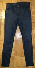 Seven For All Mankind 26 Blue Navy Snake Shiny Jeans Pants Embossed Suede