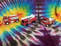 Lot Of 3 Vintage 90's Red Diecast Metal Trucks - Tonka - Tootsietoy