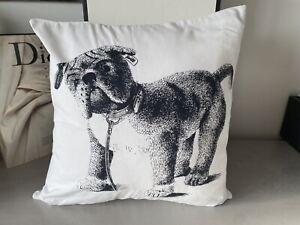 Steiff Kissen Luxus Original Kuschelkissen Stoff Tier Hund Weiß Schwarz Dog Top