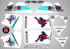 suzuki lt50 quad graphique autocollants lt 50 stratifié spiderman blanc