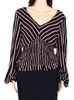 Polly & Esther Women Top Black Red Large L Smocked Striped V-Neck Blouse $49 296