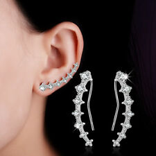 Charm Solid 925 Sterling Silver Shiny Natural Zircon Ear Clip Cuff Earrings