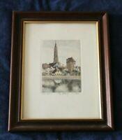 Coloriert Radierung Künstler Reiter 1930-1980 Landshut Kirche Turm Ort Grafik