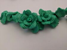 Handmade Green Polymer Flower Clay Bead, Size: about 28mm wide, 16mm thick Qty 3
