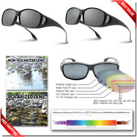 POLARIZED FIT OVER Sunglasses - 2 PAIR Wraparound Sunglasses Fits OVER Glasses
