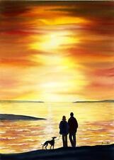 PRINT ART GREYHOUND WHIPPET LURCHER DOG ORIGINAL 7114 DIANNE HEAP SUNSET SEA