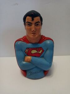 "1974 Mego Superman Coin Bank 8"" Hard Plastic"