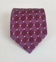 Turnbull & Asser 100% Silk Red & Blue Geometric Tie 58L 3.5W Made in England