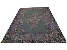 "SALE9'5"" x 6'  COLOR REFORM  Vintage BLACK GRAY DUSTY PINK   Overdyed carpet rug"