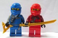 2 Genuine Lego Red Blue Ninja Minifigure Figure Gold Golden Weapons  Ninjago