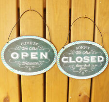 Small Oval Vintage Green Metal Welcome Plaque Open Closed Reversible Tin Sign