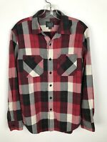 J. Crew Sporting Goods Flannel Shirt Size S Red Gray Black Button Front Plaid