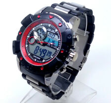 x196 Men's New Sports Wrist Watch Black Silver Strap Digital Analogue Red Dial