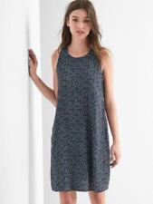 Gap Tie-back tank swing dress, Black print Sz XS (51130)