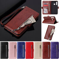 Zipper Wallet Leather Flip Cover Case For Huawei Y7 2019 P30 Lite Y9 Prime 2019