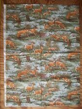"Deers in wood jumping over fence rail 30"" by 45"" cotton fabric"