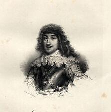 Portrait de Gaston d'Orléans Lithographie originale XIXème