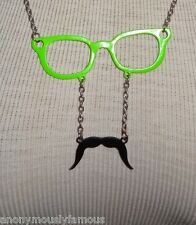 """HOT TOPIC Sunglasses with Mustache 27"""" Necklace Silver Green Black"""