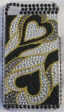 Rhinestone iPhone 4 Hard Case Cover Black Silver Hearts