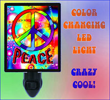 Night Light - Peace Sign - Color Changing LED Night Light - Changes Colors!!