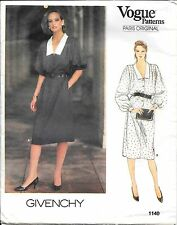 Vogue Paris Original Sewing Pattern 1140 Givenchy Misses' Dress SZ 14 Uncut