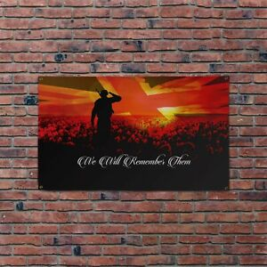 We Will Remember Them Banner Remembrance Day Union Jack Poppy Field