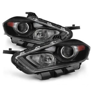 Fit Dodge 13-16 Dart Black Housing Replacement Headlights Pair Set *HID Model*