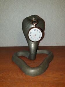Antique Zinc Pocket Watch Holder Stand Cobra