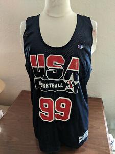 USA Men's Basketball #99 Champion Reversible Practice Jersey Navy/White Size LG