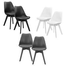 [en.casa]® Design Stühle 2er Set Esszimmer Stuhl Kunststoff Kunstleder Modern