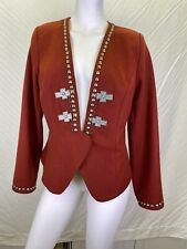 Double D Ranch Maroon Red Wool Cross & Studs Jacket Blazer L Turquoise Highligh